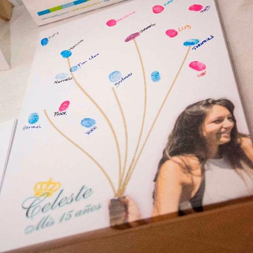 cuadro de arbol de huellas y libro de firmas bodas 15 años