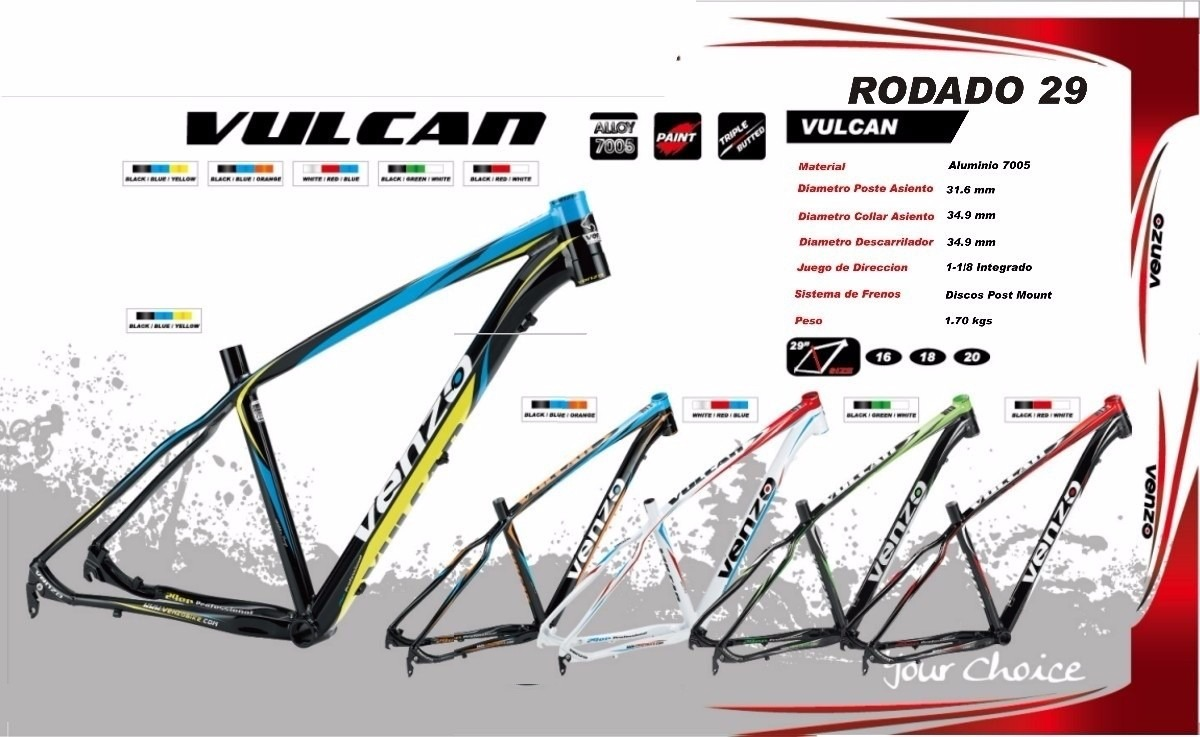 Cuadro De Bicicleta Venzo Vulcan R29 Mtb Pro - $ 5.200,00 en Mercado ...