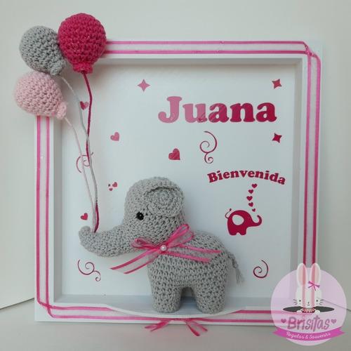 cuadro de bienvenida nacimiento elefantita bebé