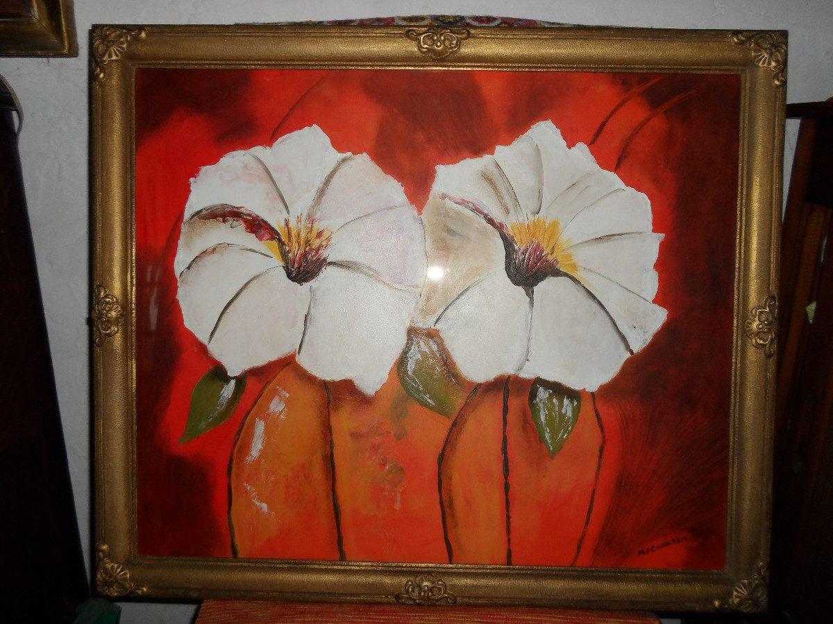 Cuadro De Flores Pintado En Acrilico 1 600 00 En Mercado Libre