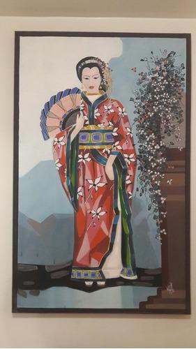 cuadro de geisha chino fenchui 116x74