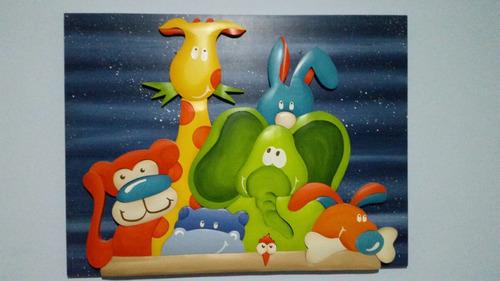 cuadro de madera encastrada en relieve infantil