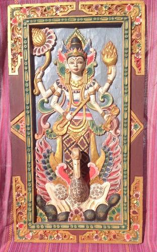 cuadro de madera tallado india hindu 3d!!  buenisimoo!!!