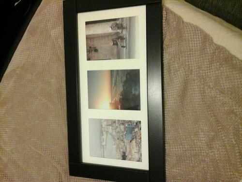 cuadro de marco de madera wengue para tres fotos