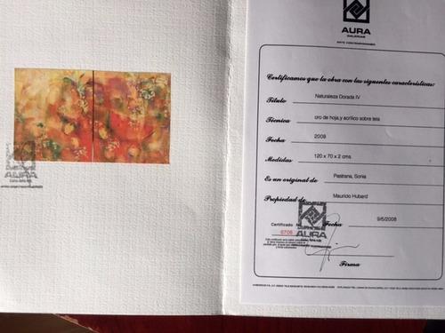cuadro de oro de hoja y acrilico sobre tela