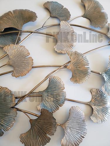 cuadro de pared metalico adorno hojas secas  friso
