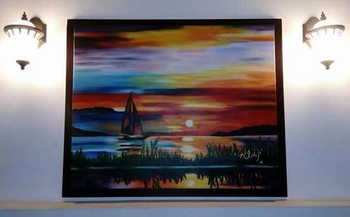 cuadro de pintura al óleo - atardecer 80 x 100 cm