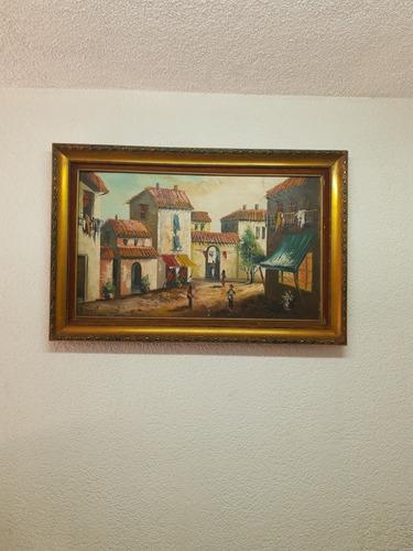 cuadro de pintura al óleo. autor m arvi 79cm x 1.18m