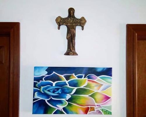 cuadro de pintura al óleo - flor colorida 30 x 50 cm