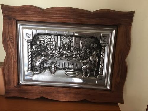 cuadro de plata  la ultima cena  con madera