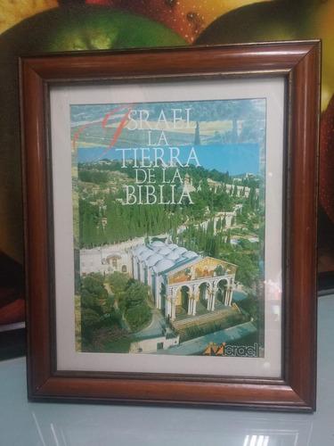 cuadro de postal antigua de israel con vidrio