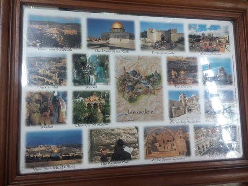 cuadro de postal jerusalem sitios religiosos enmarcado