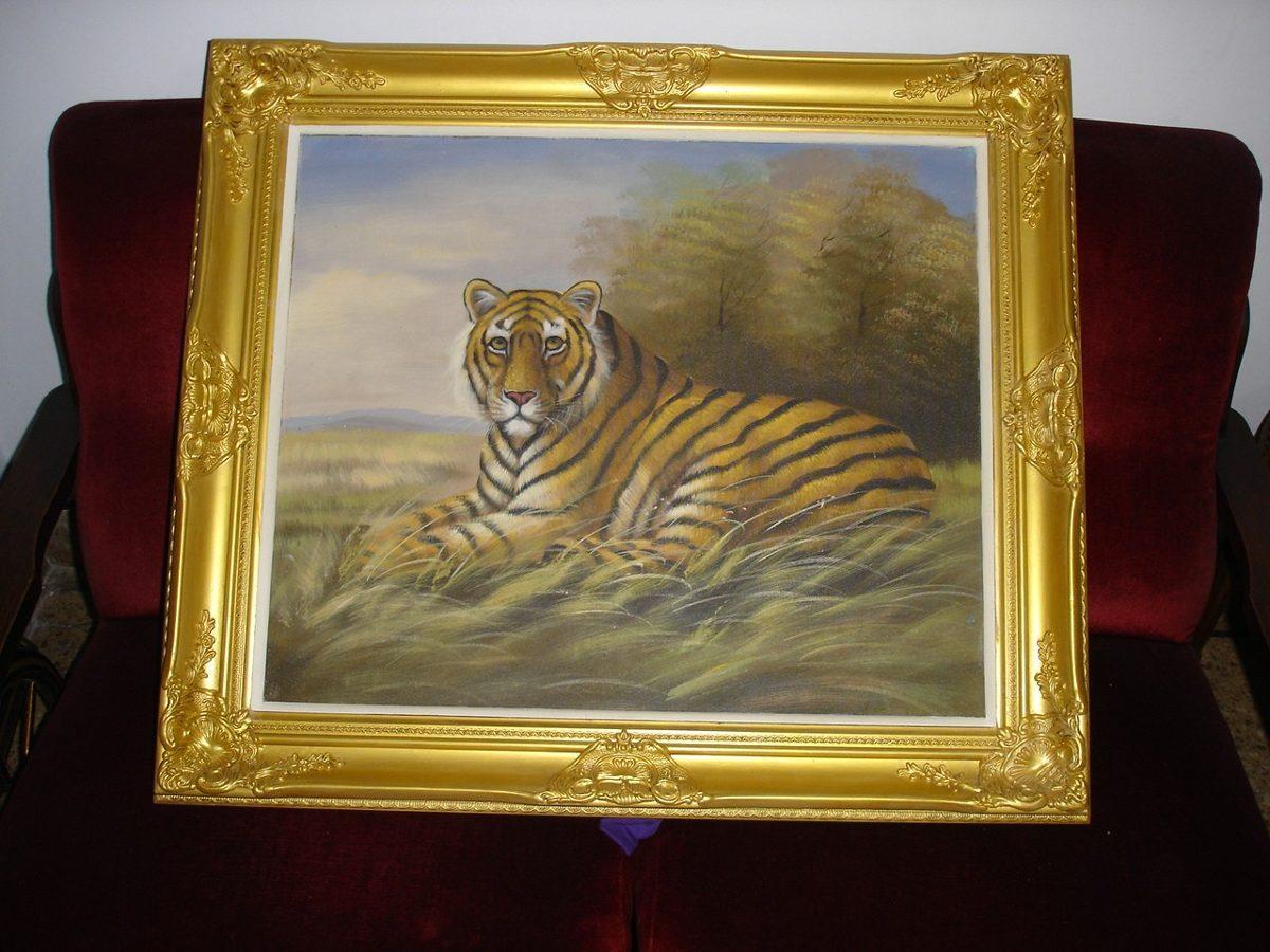 Cuadro De Tigre En Un Marco Frances Dorado Grande. - $ 7.500,00 en ...