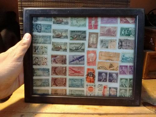cuadro de timbres postales antiguos de todo el mundo