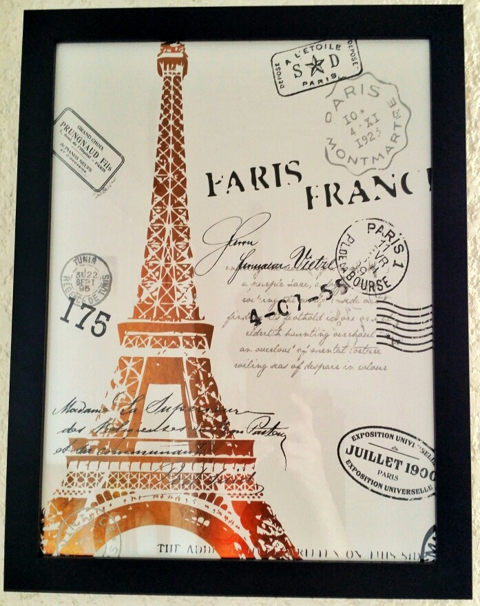 Cuadro De Torre Eiffel París Se Ilumina  Con Marco & Vidrio