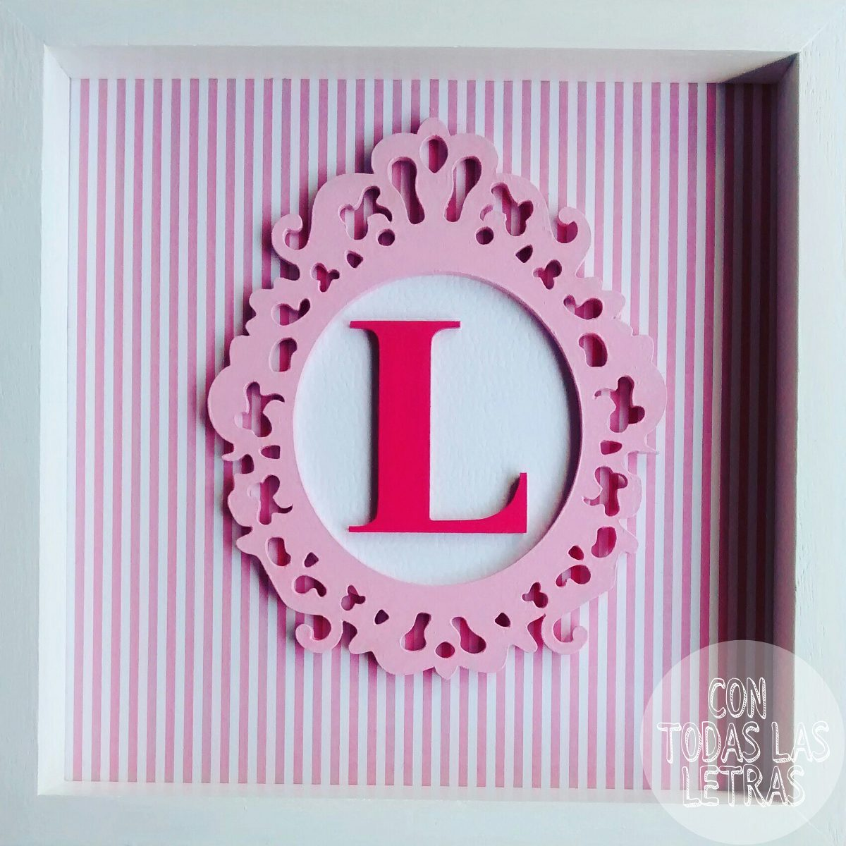 Cuadro Deco Letra Inicial 20x20cm, Shabby Chic.marco Box - $ 400,00 ...