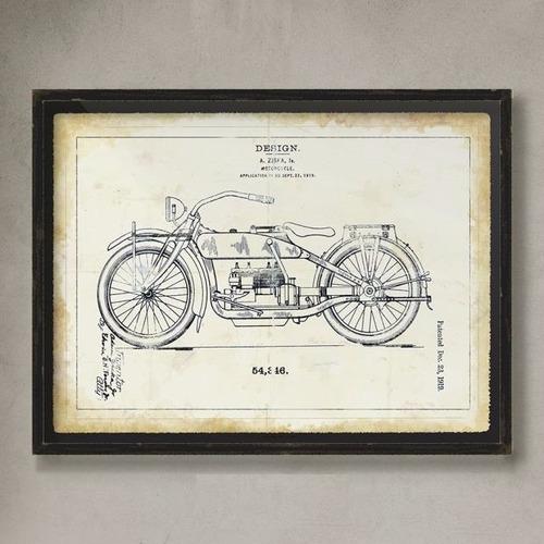 cuadro decoración lámina blue prints moto