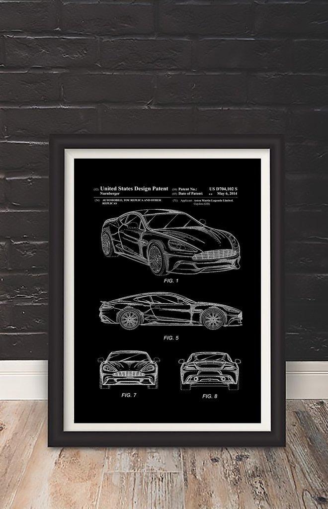 Cuadro Decorativo Aston Martin (20 X 30 Marco Blanco) - $ 650,00 en ...