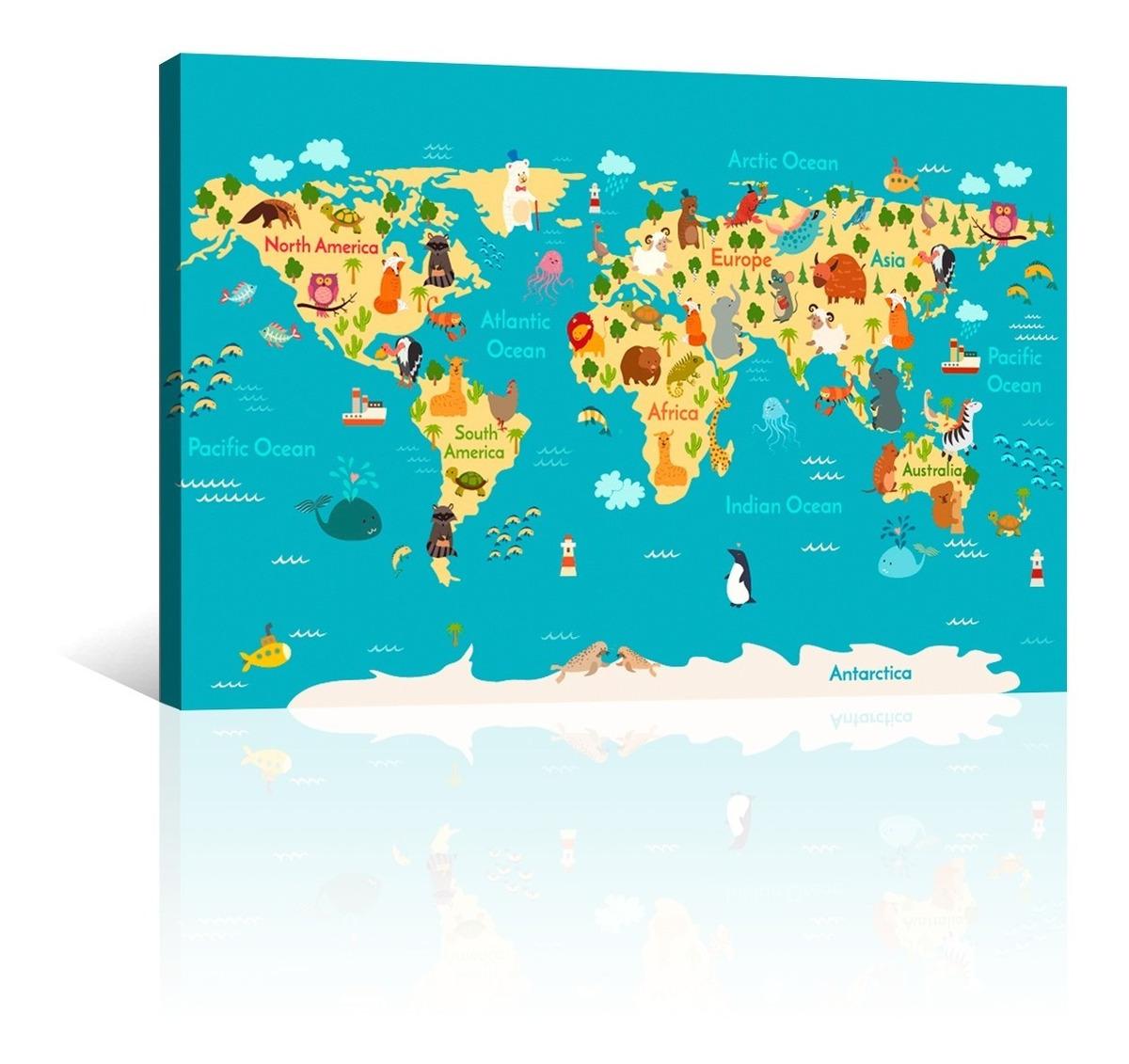 Mapa Del Mundo Infantil.Cuadro Decorativo Canvas Mapas Del Mundo Infantil Animado