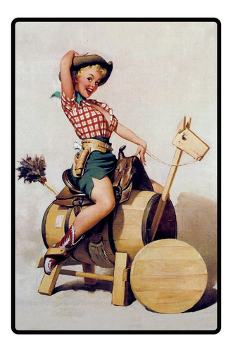 cuadro decorativo cartel de madera - vintage caballo 19x29cm