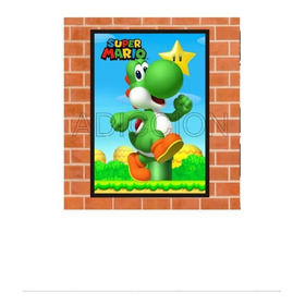 Cuadro Decorativo Con Marco Calidad A Yoshi D Mario Bros 004