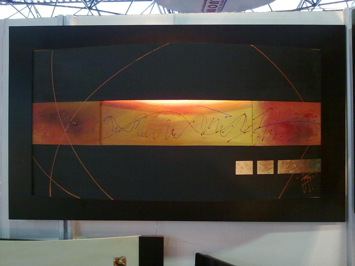 Cuadro decorativo curvo con luz central marco completo for Cuadros abstractos con marco
