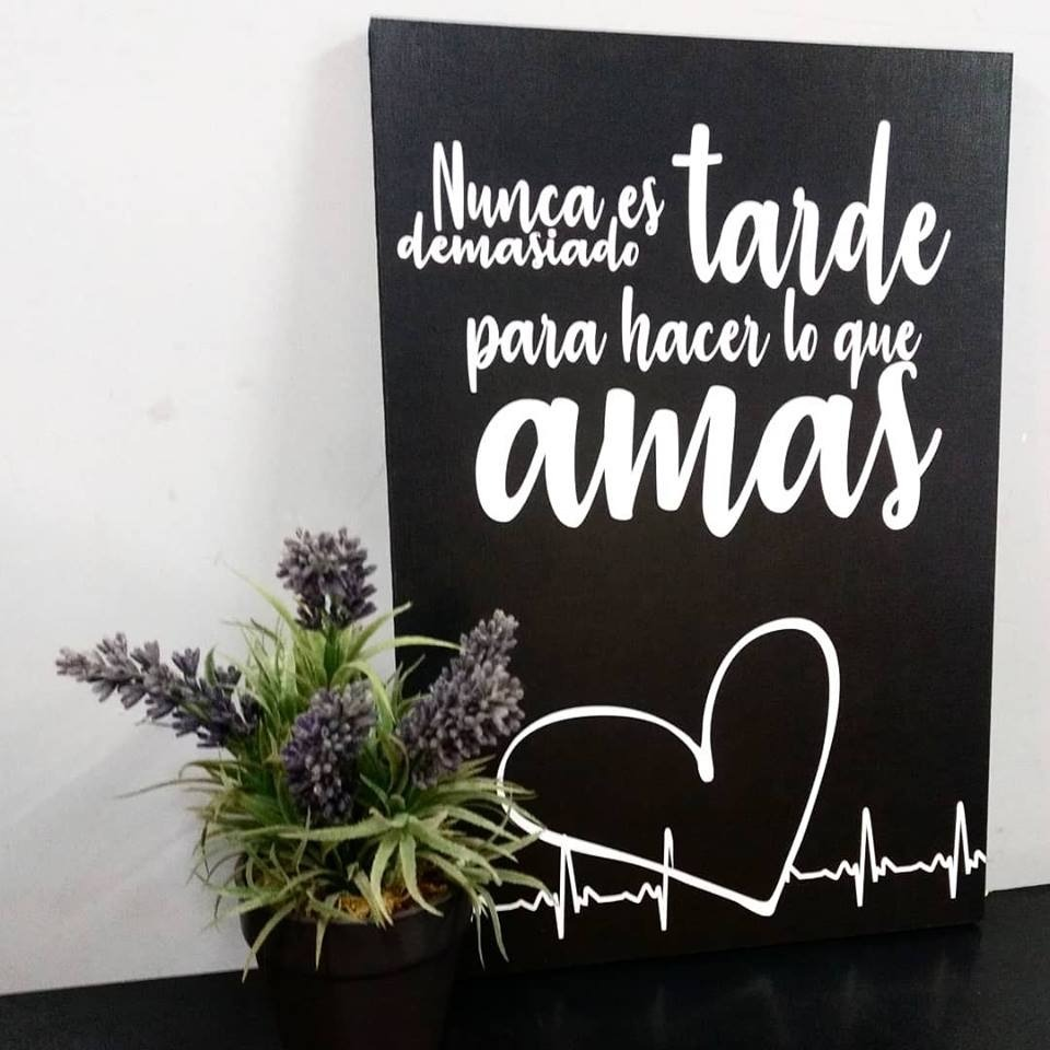 Cuadro Decorativo Frases Blanco Y Negro Montado Sobre Madera
