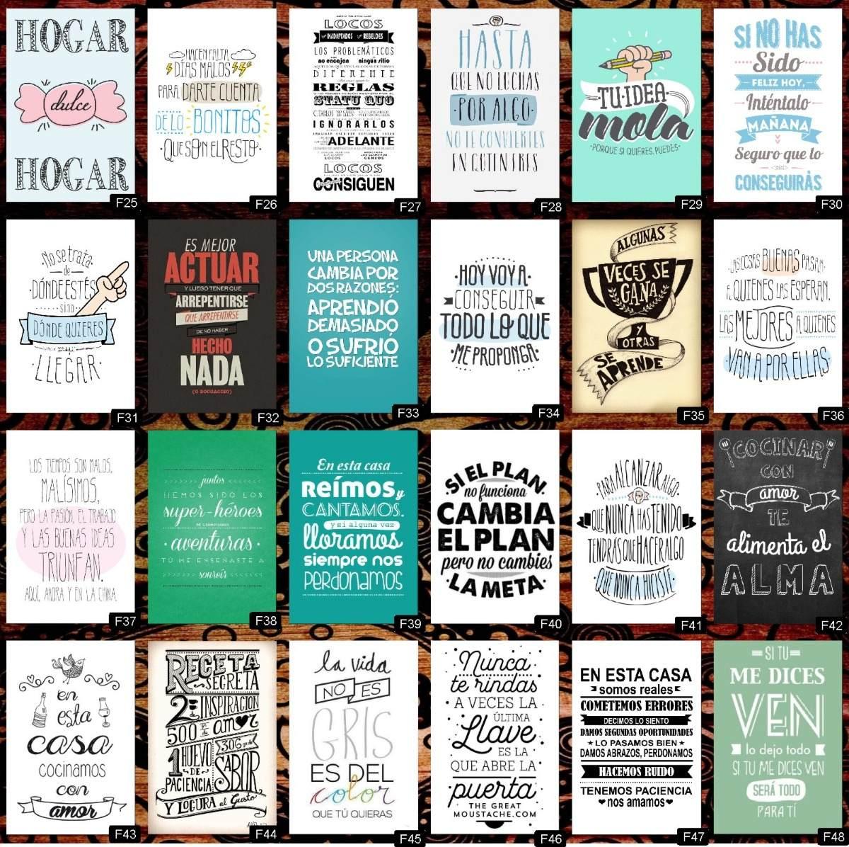 Cuadro Decorativo Frases Modernos Decoración Vintage X 12u