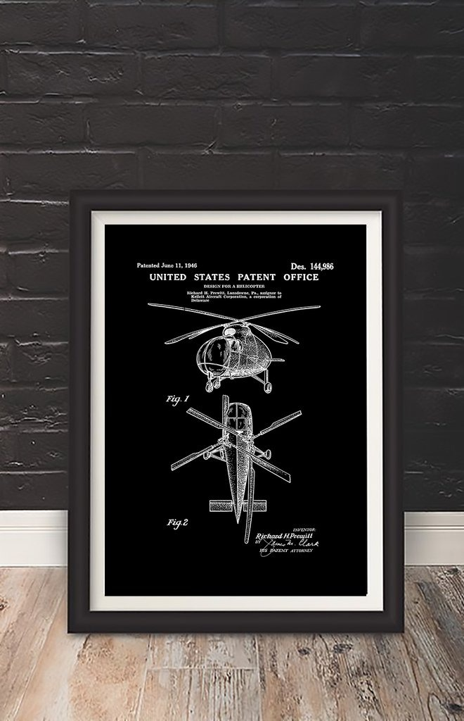 Cuadro Decorativo Helicopter (13 X 18 Marco Negro) - $ 450,00 en ...