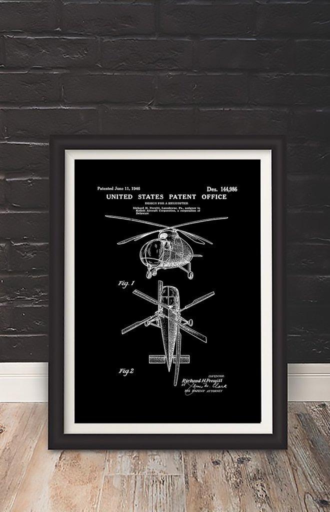 Cuadro Decorativo Helicopter (20 X 30 Marco Blanco) - $ 650,00 en ...