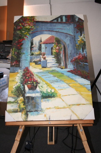 cuadro decorativo jardín de paso arte pintura oleo