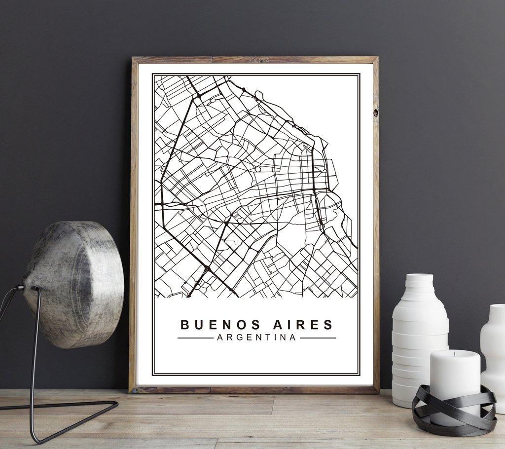 Cuadro Decorativo Mapa Buenos Aires (13 X 18 Marco Blanco) - $ 450 ...