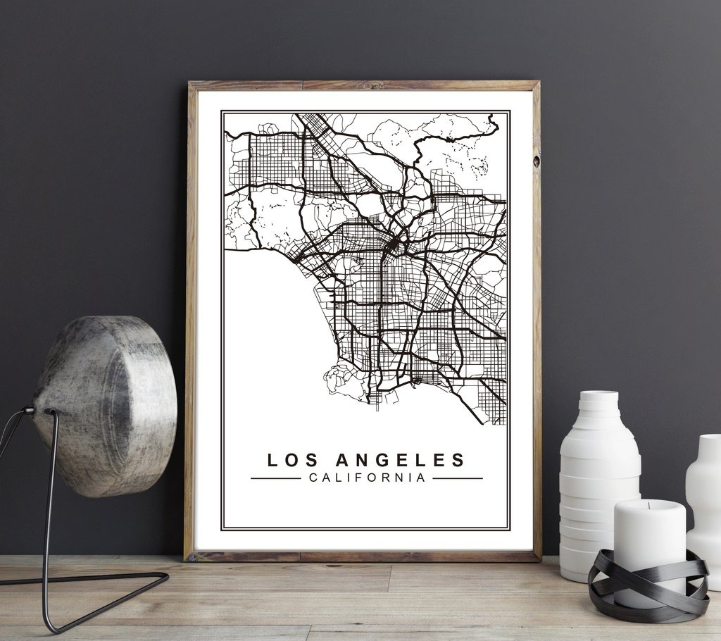 Cuadro Decorativo Mapa Los Angeles (20 X 30 Marco Blanco) - $ 650,00 ...