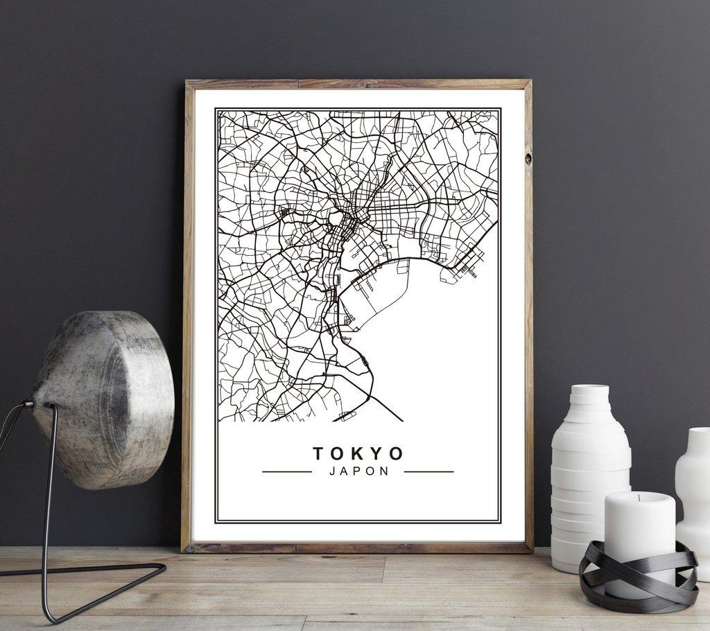 Cuadro Decorativo Mapa Tokyo (13 X 18 Marco Madera) - $ 400,00 en ...