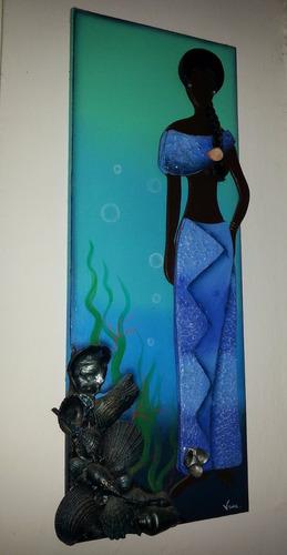 cuadro decorativo - morena mulata artesanal