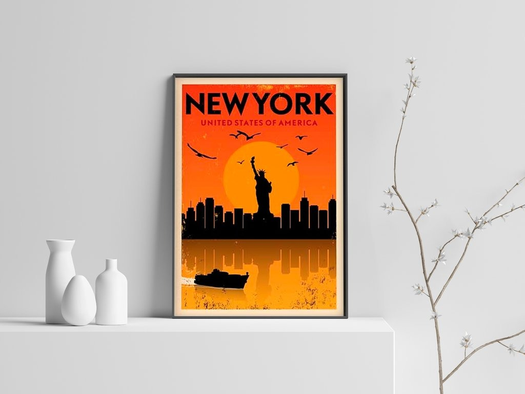 Cuadro Decorativo New York Poster (20 X 30 Marco Blanco) - $ 650,00 ...