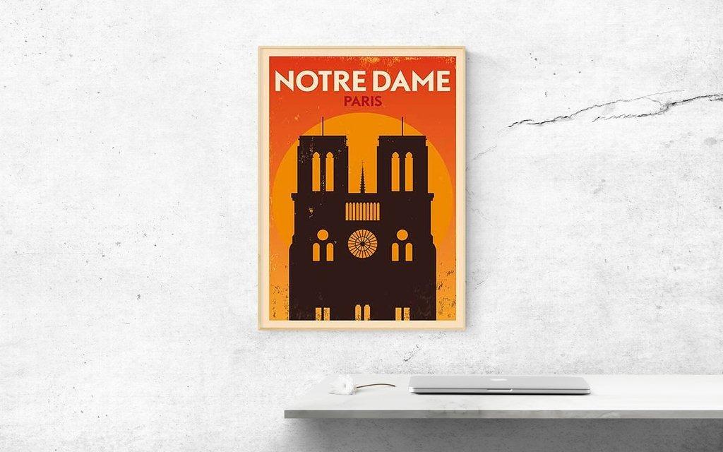 Cuadro Decorativo Notre Dame Poster (20 X 30 Marco Blanco) - $ 650 ...