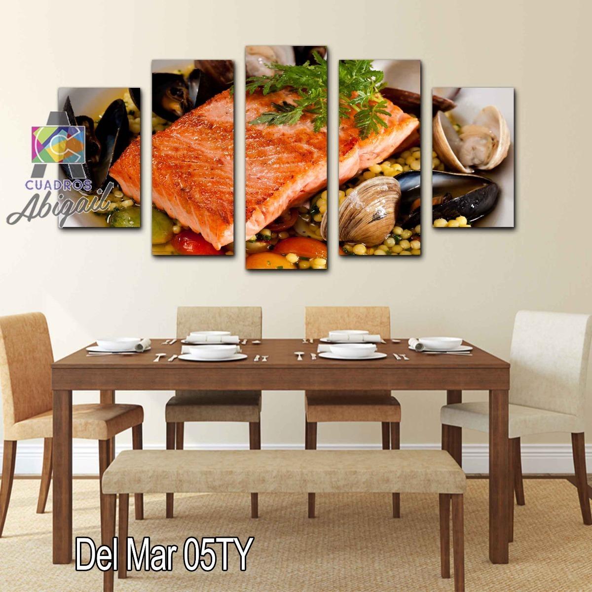 Cuadro Decorativo Para Comedor Comida Del Mar Salmón 150x80