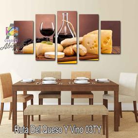 Cuadro Decorativo Para Comedor Quesos Y Vino 150x80cm 5pzs