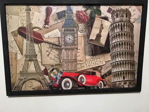 cuadro decorativo paris torre pisa londres auto rojo en mercado libre. Black Bedroom Furniture Sets. Home Design Ideas