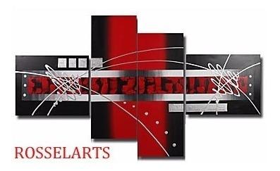 cuadro  decorativo poliptico abstracto rojo, negro