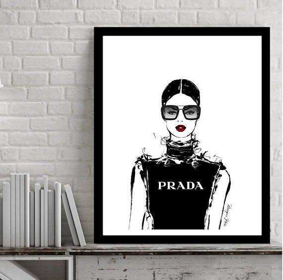 Cuadro Decorativo Prada Girl (13 X 18 Marco Negro) - $ 450,00 en ...