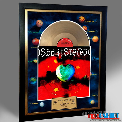 cuadro decorativo soda stereo zoe  bunbury disco oro lp mtv