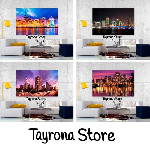 cuadro decorativo tayrona store ciudad nocturna 36 70x50cm