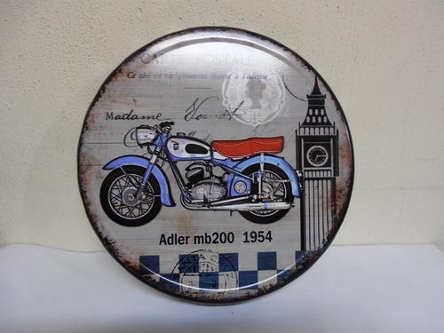 cuadro decorativo  vintage motocicleta adler mb200 1954