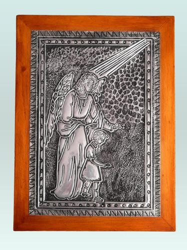 cuadro del ángel de la guarda en arte ruso marco de madera
