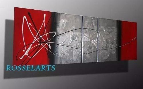 cuadro diptico decorativo abstracto negro plata rojo