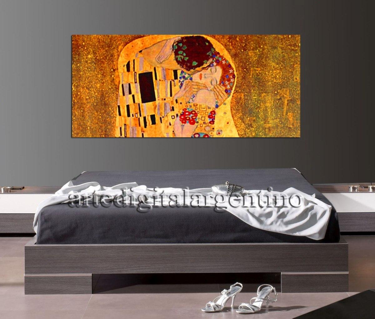 Cuadro El Beso De Klimt En Lienzo Mural 140x70 - $ 1.450,00 en ...