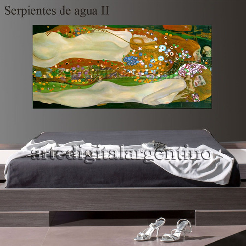 cuadro  el beso  de klimt en lienzo mural 140x70