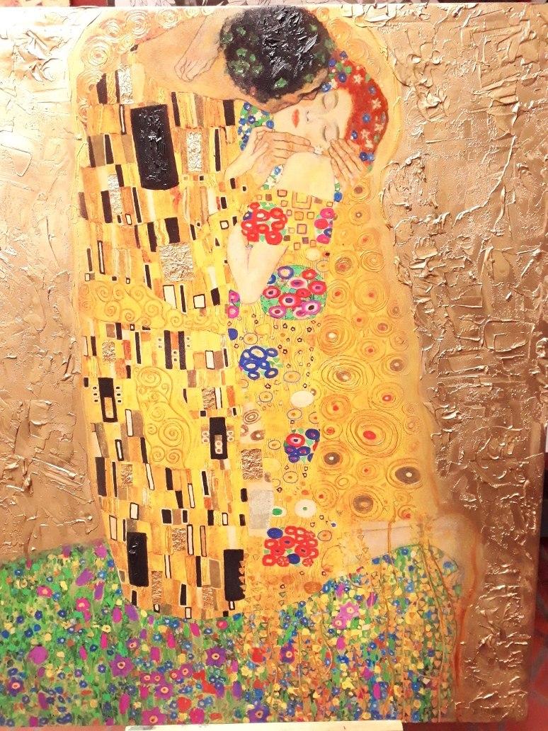 Cuadro El Beso Klimt Mural Tecnica Mixta Dorado Y Relieve 7 273